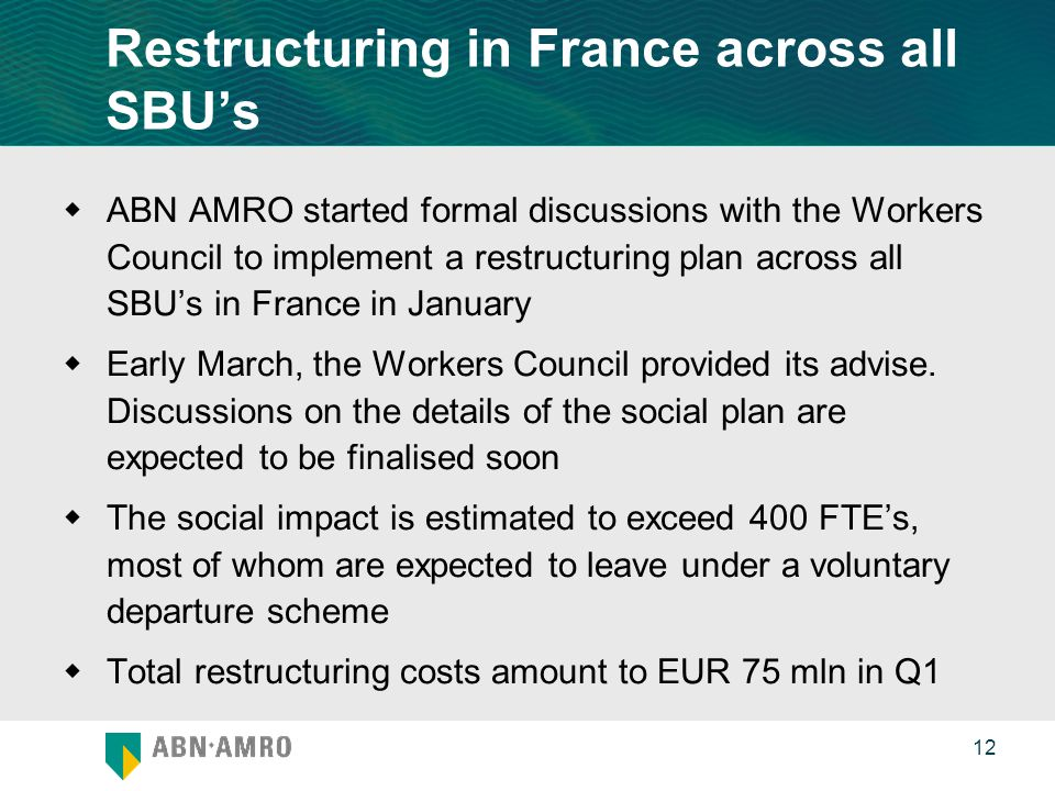 0 12 Restructuring in France across all SBU's  ABN AMRO started formal discussions with the Workers Council to implement a restructuring plan across all SBU's in France in January  Early March, the Workers Council provided its advise.