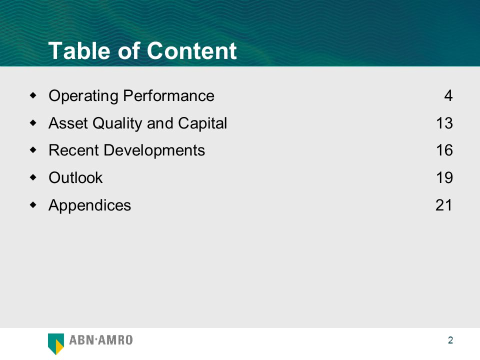 0 2 Table of Content  Operating Performance 4  Asset Quality and Capital 13  Recent Developments 16  Outlook19  Appendices21