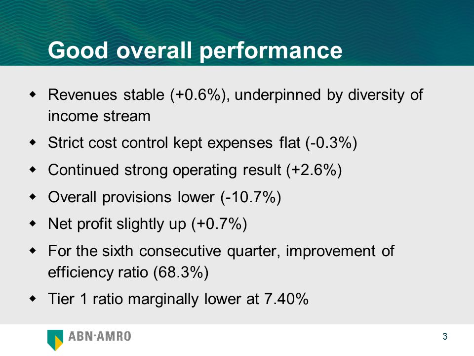 0 3 Good overall performance  Revenues stable (+0.6%), underpinned by diversity of income stream  Strict cost control kept expenses flat (-0.3%)  Continued strong operating result (+2.6%)  Overall provisions lower (-10.7%)  Net profit slightly up (+0.7%)  For the sixth consecutive quarter, improvement of efficiency ratio (68.3%)  Tier 1 ratio marginally lower at 7.40%
