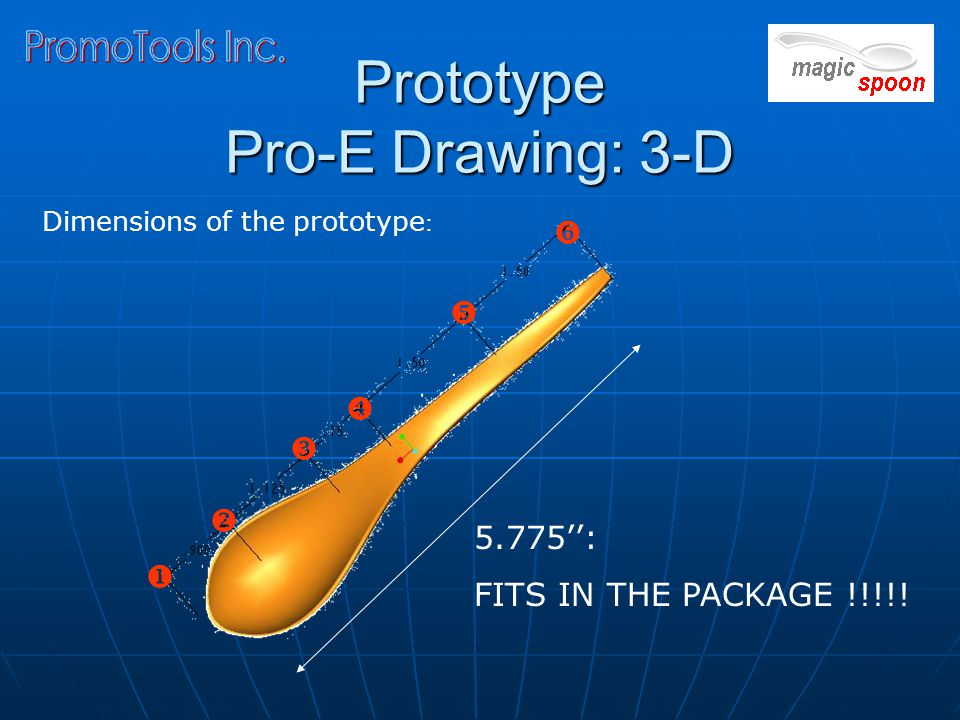 Prototype Pro-E Drawing: 3-D Dimensions of the prototype : 5.775'': FITS IN THE PACKAGE !!!!.
