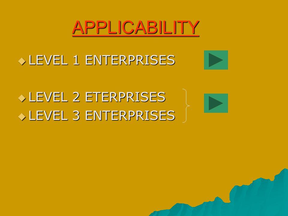 LEVEL 1 ENTERPRISES (LARGE) APPLICABLE w.e.f 1/4/2004 1.