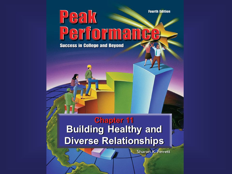2Peak Performance C H A P T E R Building Healthy and Diverse Relationships 11 C H A P T E R Strategies for communicating and building rapport To understand and appreciate college and workplace diversity Assertive communication How to accept criticism How to overcome shyness In Chapter 11 You Will Learn 11 Building Healthy and Diverse Relationships