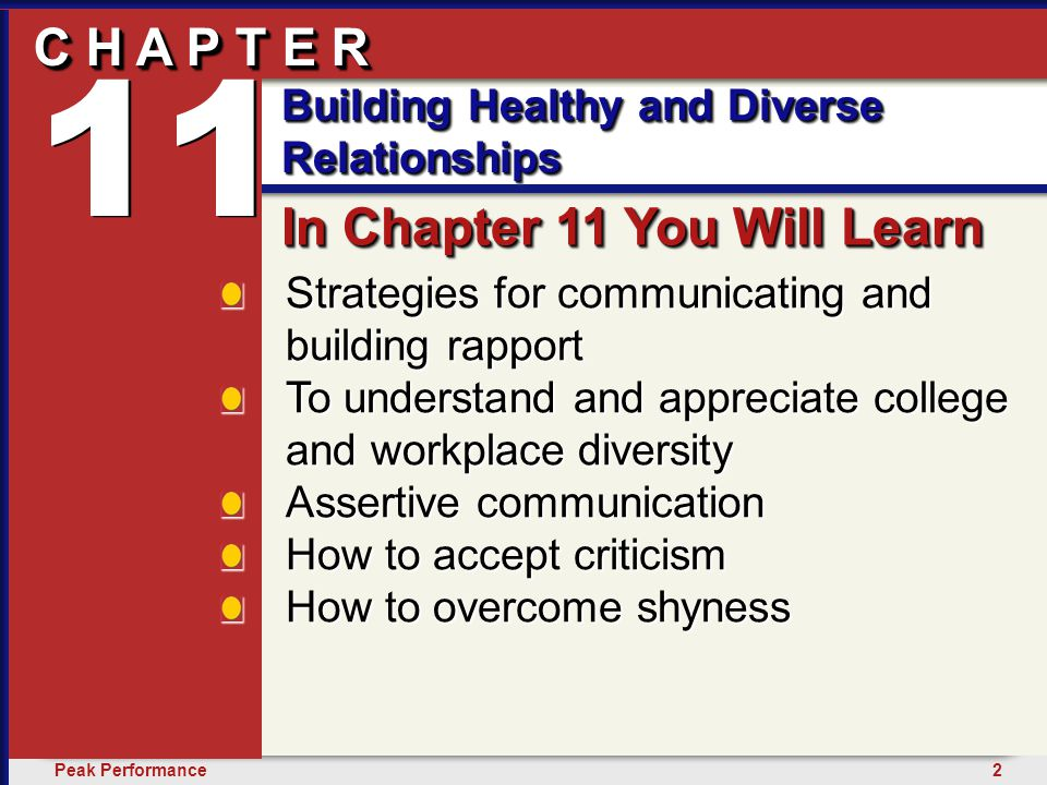 3Peak Performance C H A P T E R Building Healthy and Diverse Relationships 11 See yourself communicating with others openly and directly.