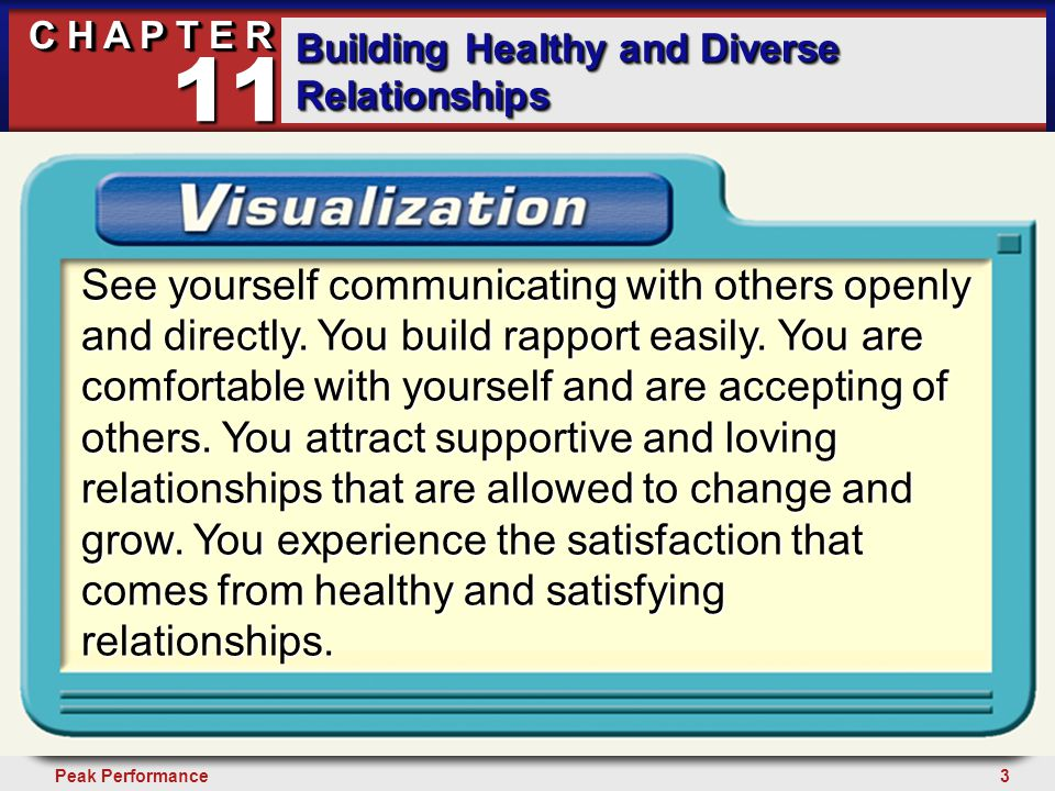 24Peak Performance C H A P T E R Building Healthy and Diverse Relationships 11 Assertive Communication Assertive communication is expressing yourself in a direct, aboveboard, and civil manner.
