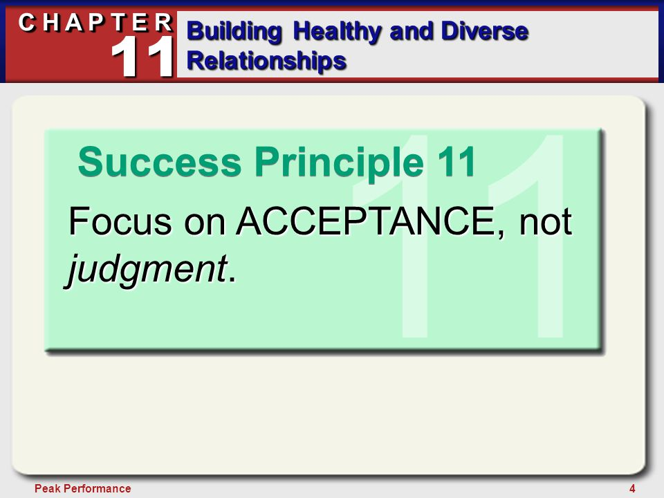 15Peak Performance C H A P T E R Building Healthy and Diverse Relationships 11 1.Be aware of your feelings.