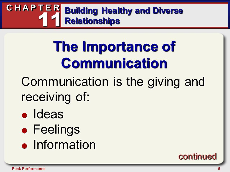 26Peak Performance C H A P T E R Building Healthy and Diverse Relationships 11 Communicating With Instructors and Advisors Develop professional relationships with your instructors and advisors just as you would with your supervisor at work.