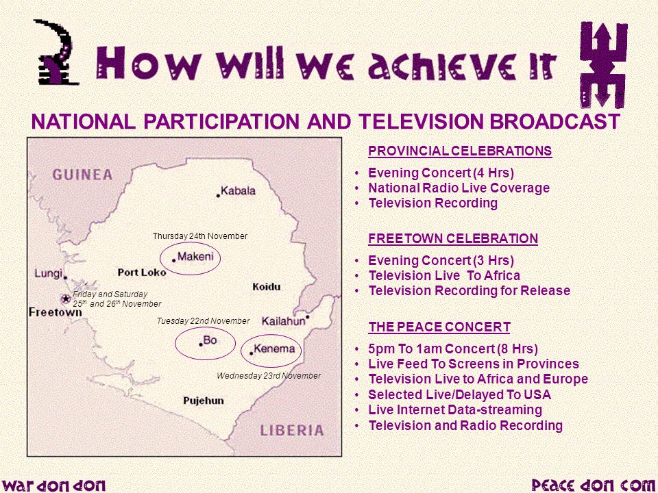 NATIONAL PARTICIPATION AND TELEVISION BROADCAST PROVINCIAL CELEBRATIONS Evening Concert (4 Hrs) National Radio Live Coverage Television Recording FREE