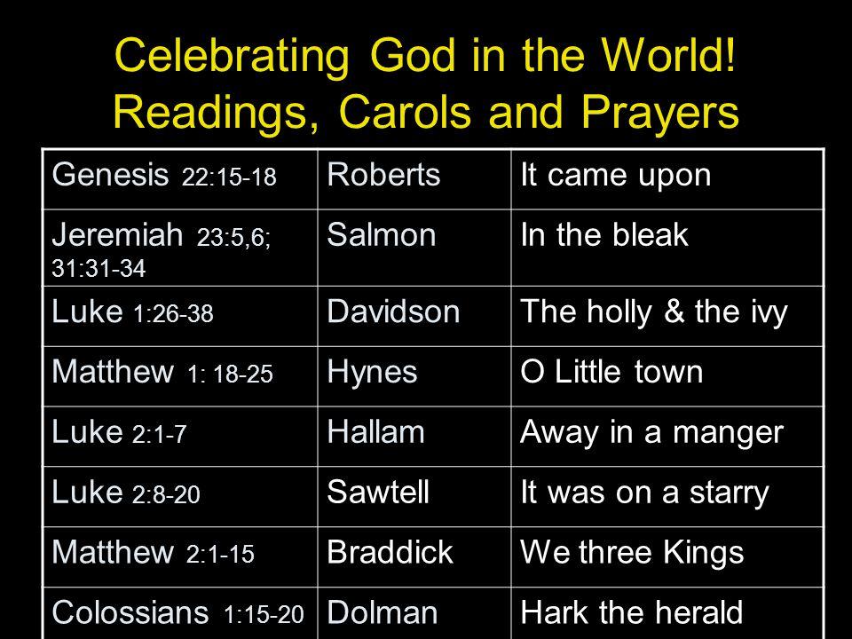 Celebrating God in the World.