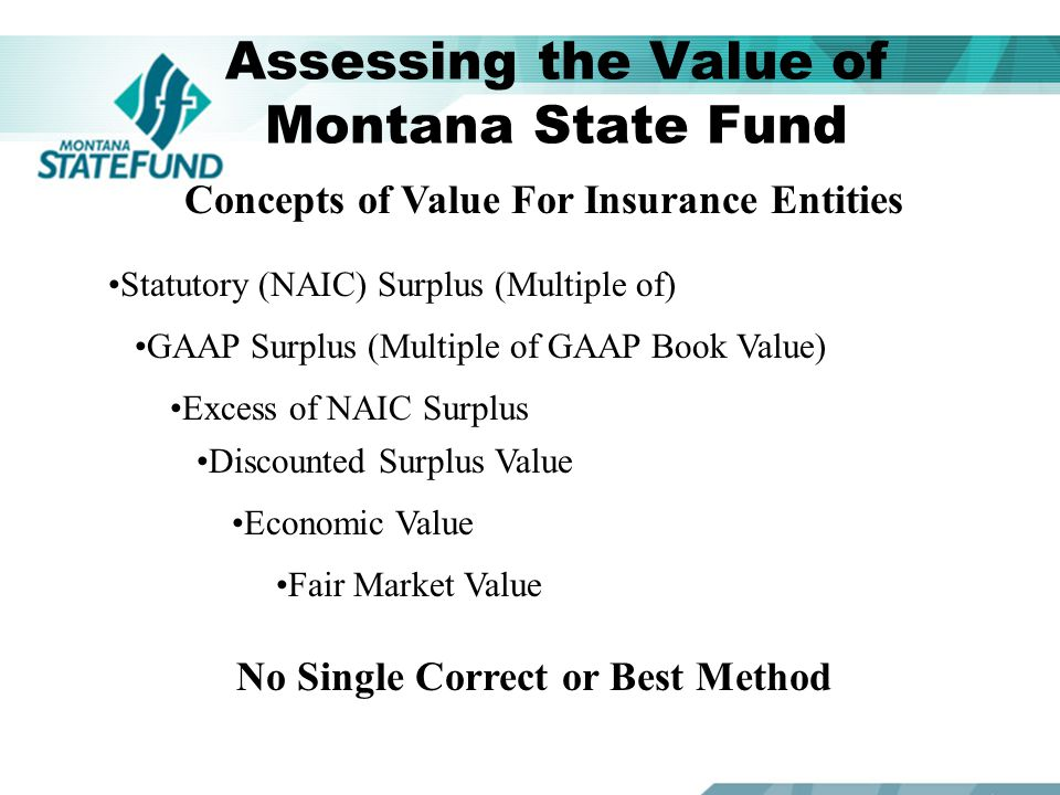Assessing the Value of Montana State Fund Concepts of Value For Insurance Entities Other Considerations Actuarial Analysis of the Reasonableness of Loss Reserves Goodwill Residual Market Mechanism Consideration for impact on Montana Businesses and Citizens A Qualified and Willing Purchaser