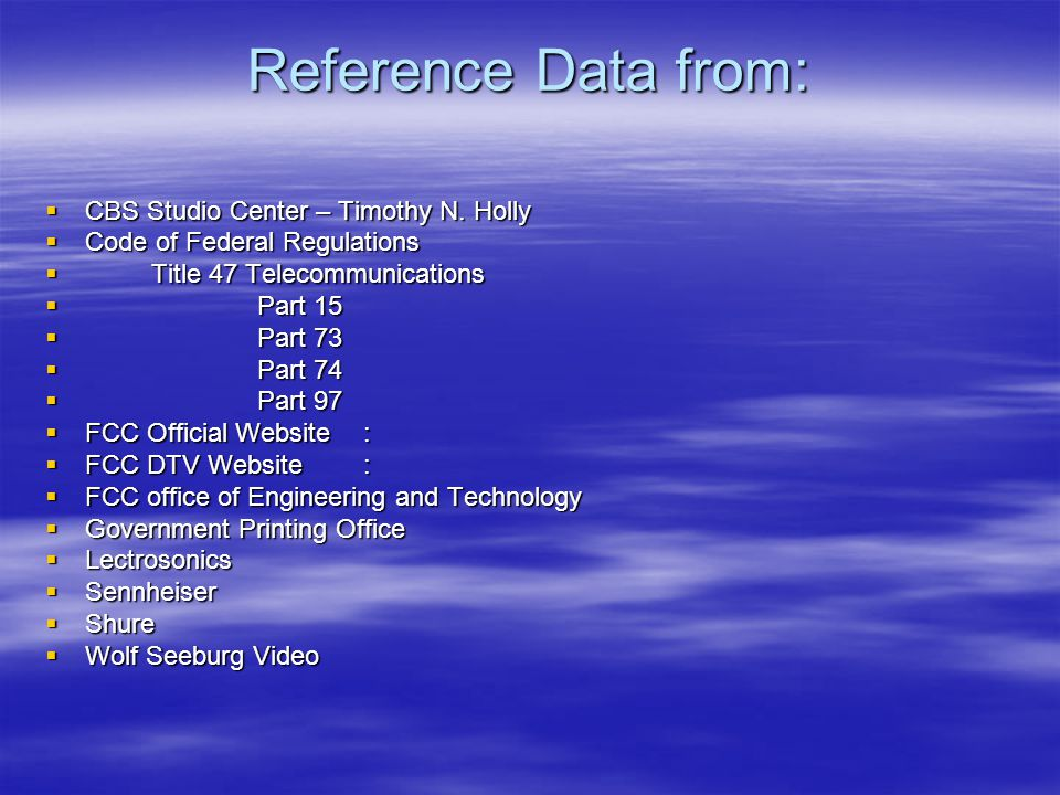 Reference Data from:  CBS Studio Center – Timothy N.