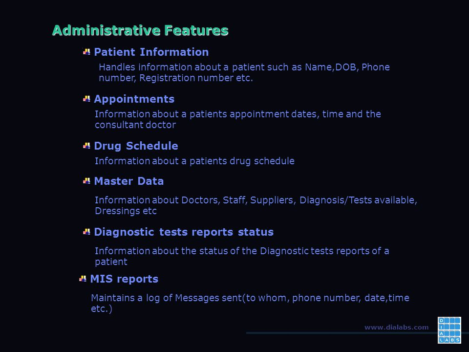 www.dialabs.com Administrative Features Patient Information Handles information about a patient such as Name,DOB, Phone number, Registration number etc.