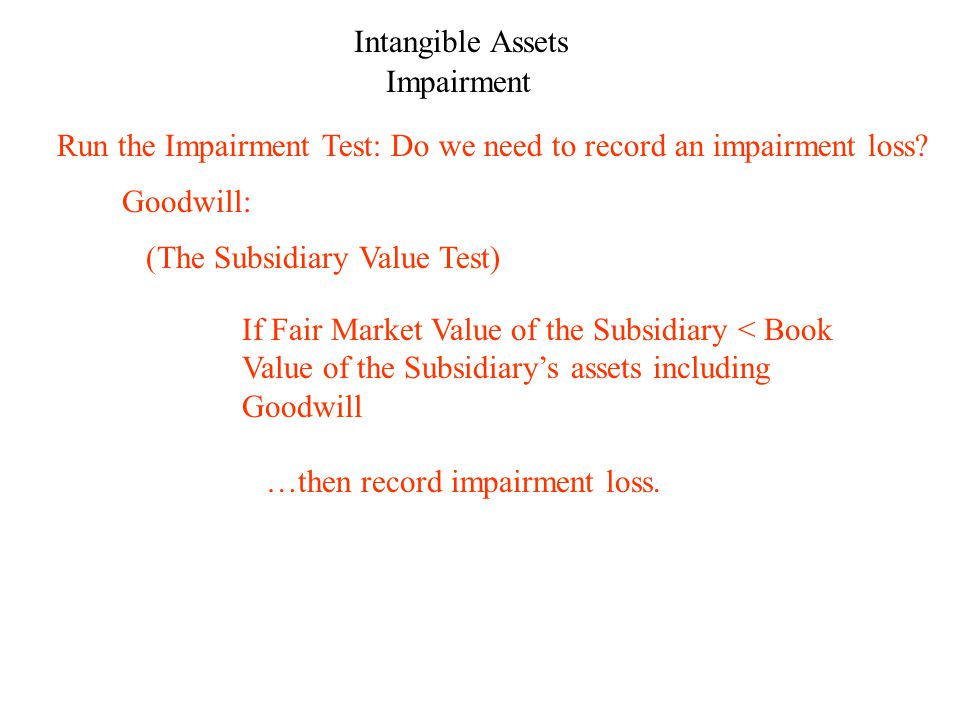 Intangible Assets Impairment Goodwill: …then record impairment loss.