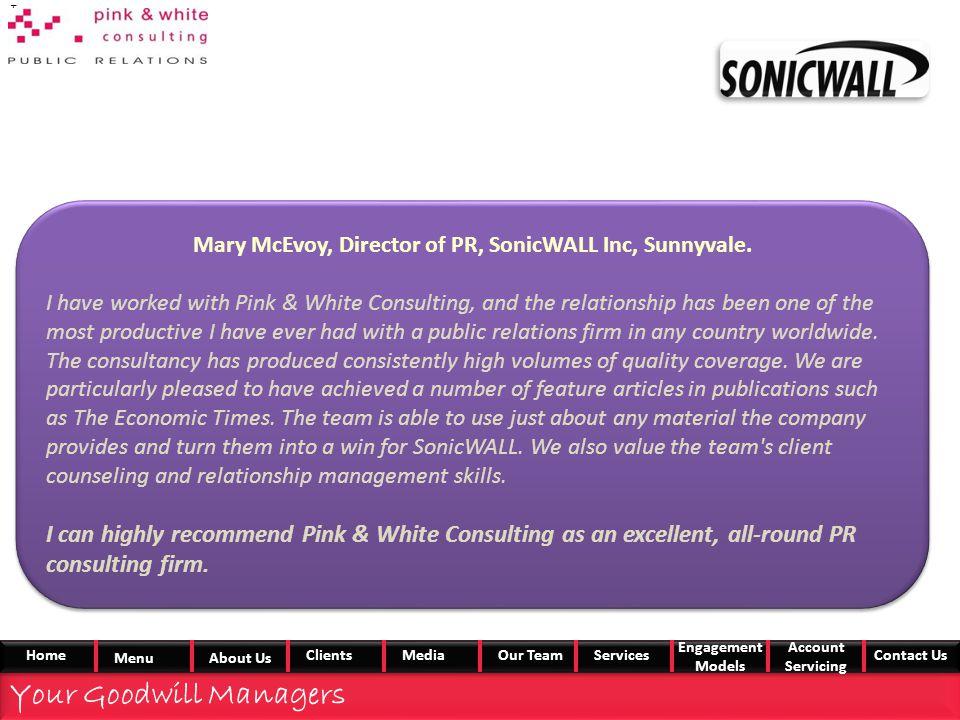 Mary McEvoy, Director of PR, SonicWALL Inc, Sunnyvale.