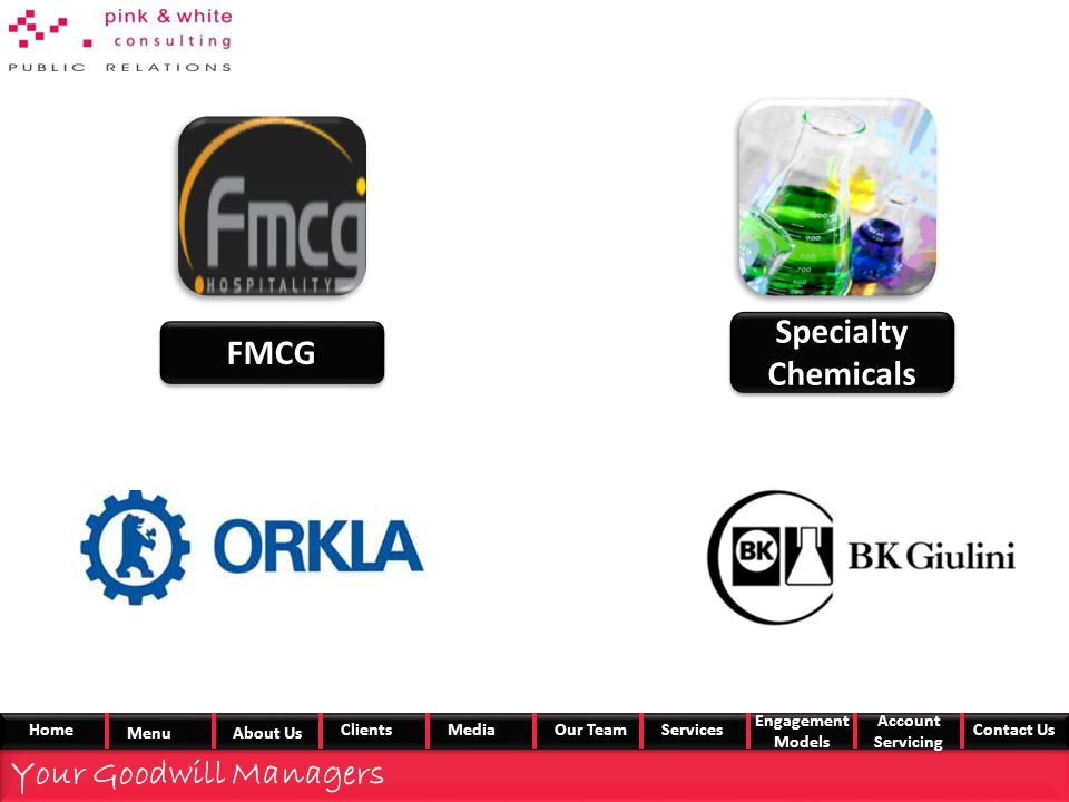 FMCG Specialty Chemicals Your Goodwill Managers Home MenuAbout Us ClientsMedia Our TeamServices Engagement Models Account Servicing Contact Us