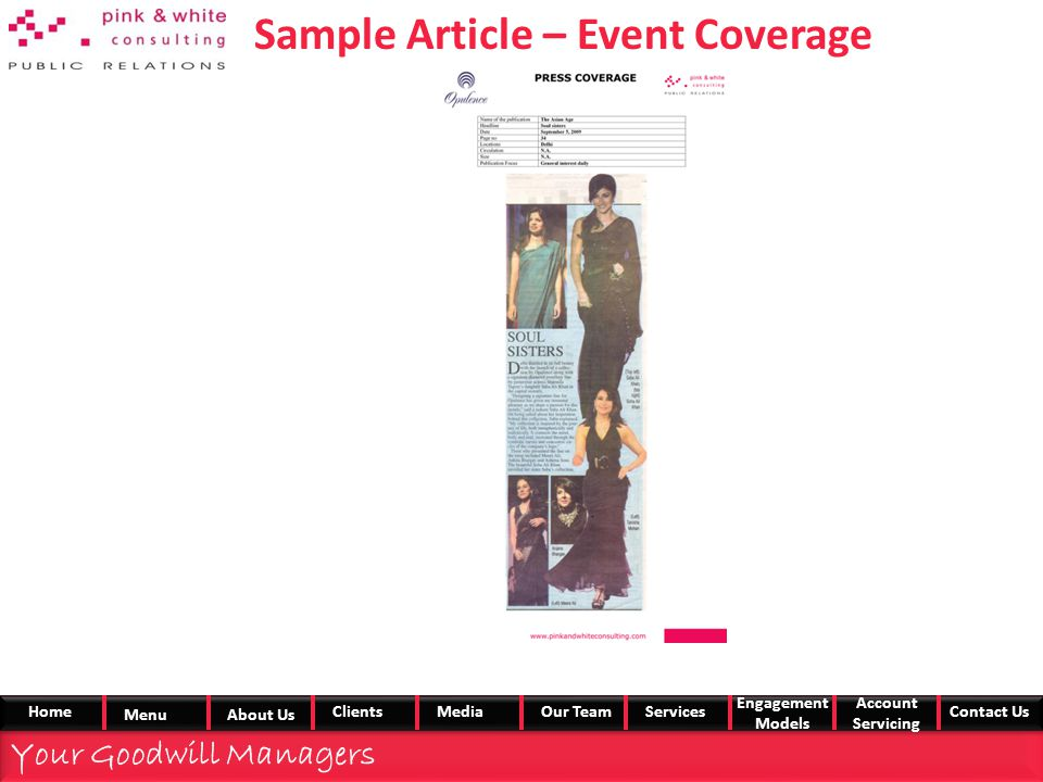 Sample Article – Event Coverage Your Goodwill Managers Home MenuAbout Us ClientsMedia Our TeamServices Engagement Models Account Servicing Contact Us