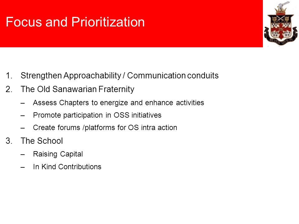 Focus and Prioritization 1.Strengthen Approachability / Communication conduits 2.The Old Sanawarian Fraternity –Assess Chapters to energize and enhanc