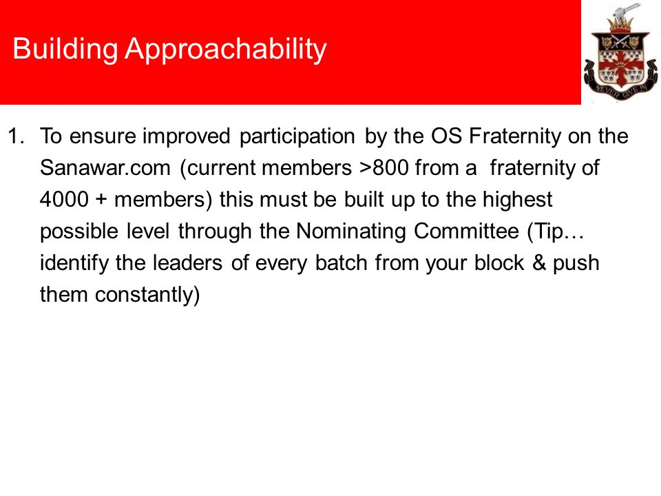 Building Approachability 1.To ensure improved participation by the OS Fraternity on the Sanawar.com (current members >800 from a fraternity of 4000 +
