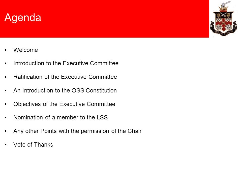 Agenda Welcome Introduction to the Executive Committee Ratification of the Executive Committee An Introduction to the OSS Constitution Objectives of t