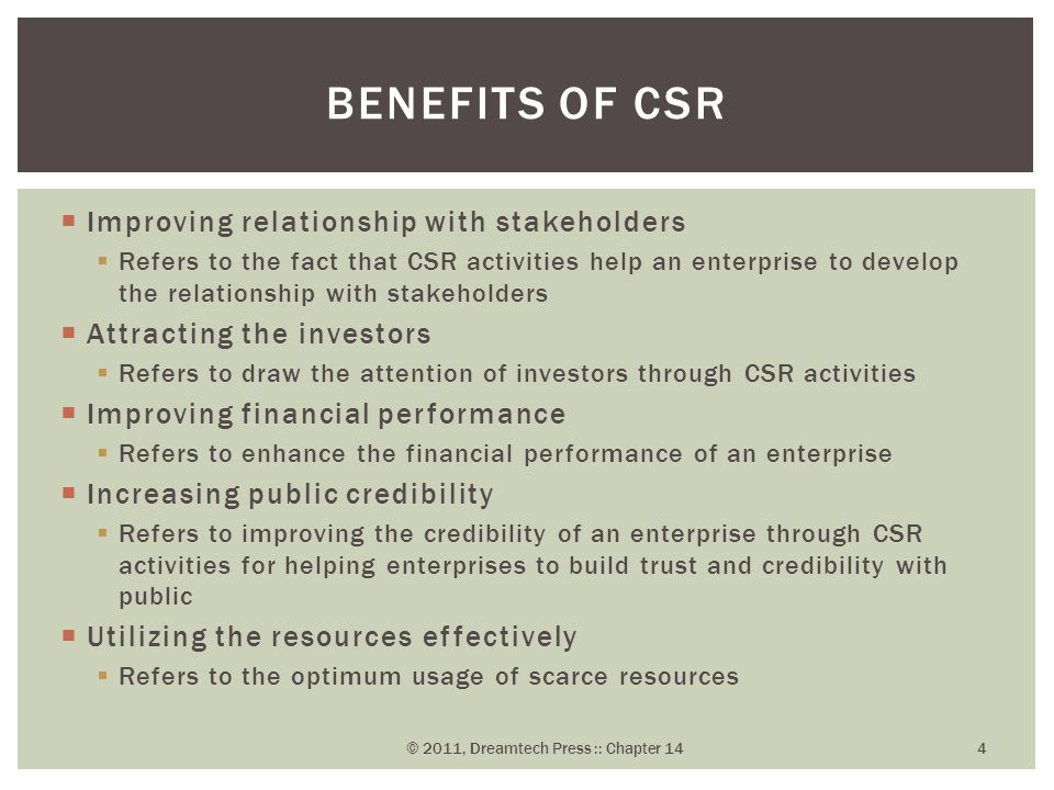  Improving relationship with stakeholders  Refers to the fact that CSR activities help an enterprise to develop the relationship with stakeholders  Attracting the investors  Refers to draw the attention of investors through CSR activities  Improving financial performance  Refers to enhance the financial performance of an enterprise  Increasing public credibility  Refers to improving the credibility of an enterprise through CSR activities for helping enterprises to build trust and credibility with public  Utilizing the resources effectively  Refers to the optimum usage of scarce resources BENEFITS OF CSR © 2011, Dreamtech Press :: Chapter 14 4