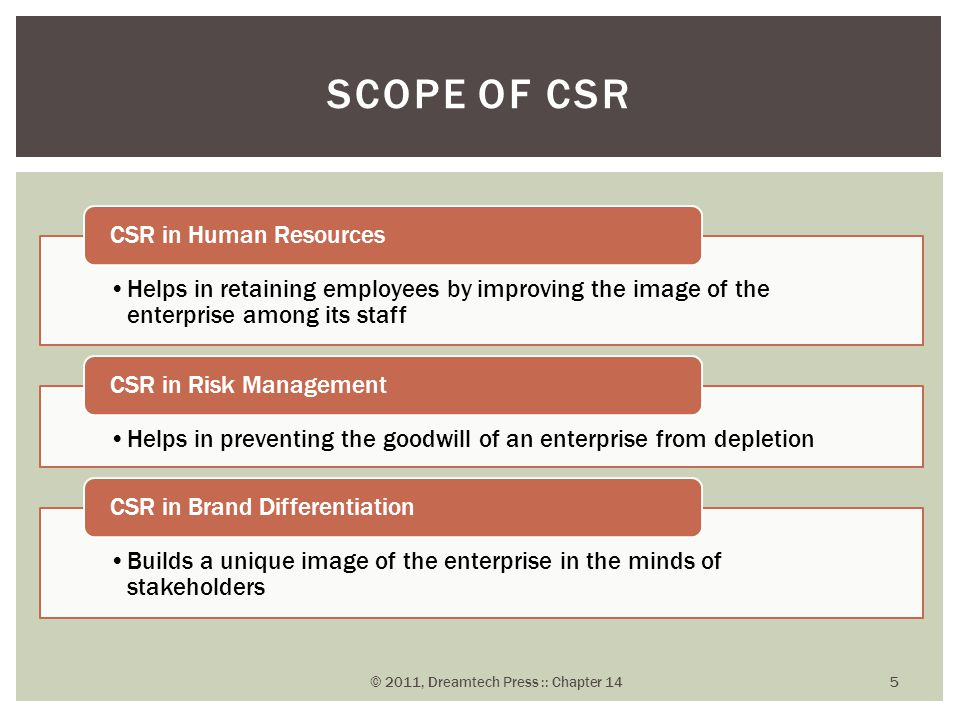 Helps in retaining employees by improving the image of the enterprise among its staff CSR in Human Resources Helps in preventing the goodwill of an enterprise from depletion CSR in Risk Management Builds a unique image of the enterprise in the minds of stakeholders CSR in Brand Differentiation SCOPE OF CSR © 2011, Dreamtech Press :: Chapter 14 5