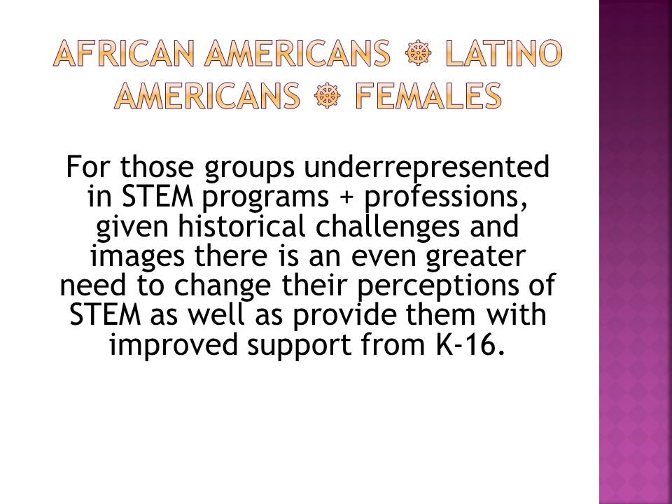 For those groups underrepresented in STEM programs + professions, given historical challenges and images there is an even greater need to change their perceptions of STEM as well as provide them with improved support from K-16.