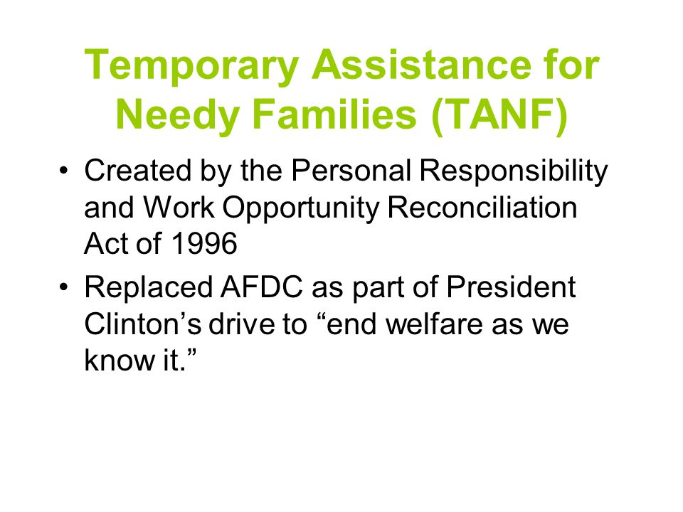 Did TANF Restore the American Family .