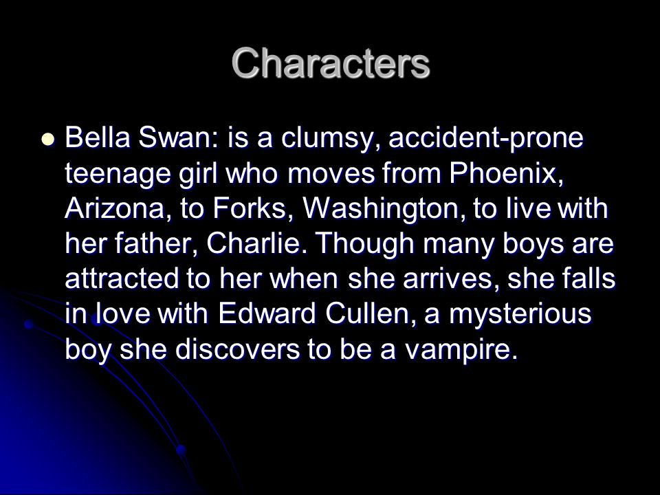 Characters Edward Cullen: was born on June 20, 1901 in Chicago, Illinois, and is frozen in his 17-year-old body.