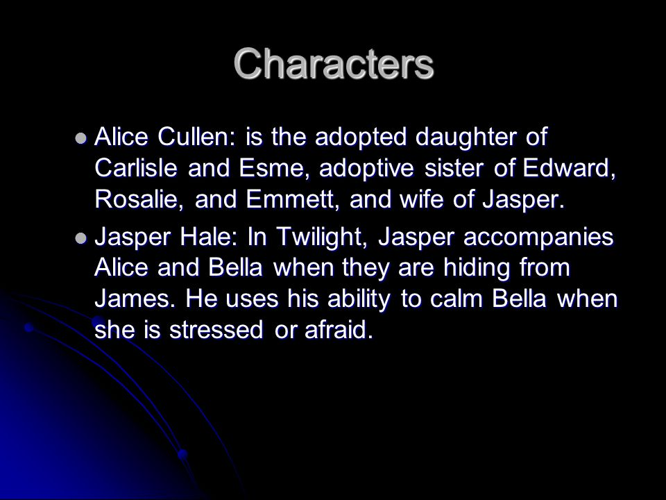 Characters James: The major antagonist of the novel, he's tracker vampire who hunts human beings or, in some cases, animals, for sport.