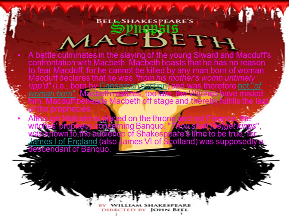 Synopsis A battle culminates in the slaying of the young Siward and Macduff s confrontation with Macbeth.