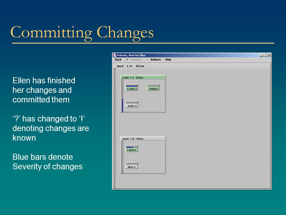 Committing Changes Ellen has finished her changes and committed them '?' has changed to '!' denoting changes are known Blue bars denote Severity of ch