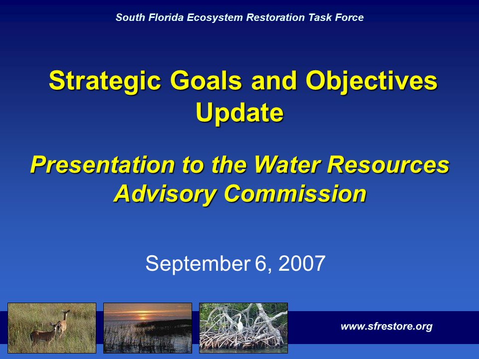 South Florida Ecosystem Restoration Task Force Strategic Goals and Objectives Update Presentation to the Water Resources Advisory Commission Strategic
