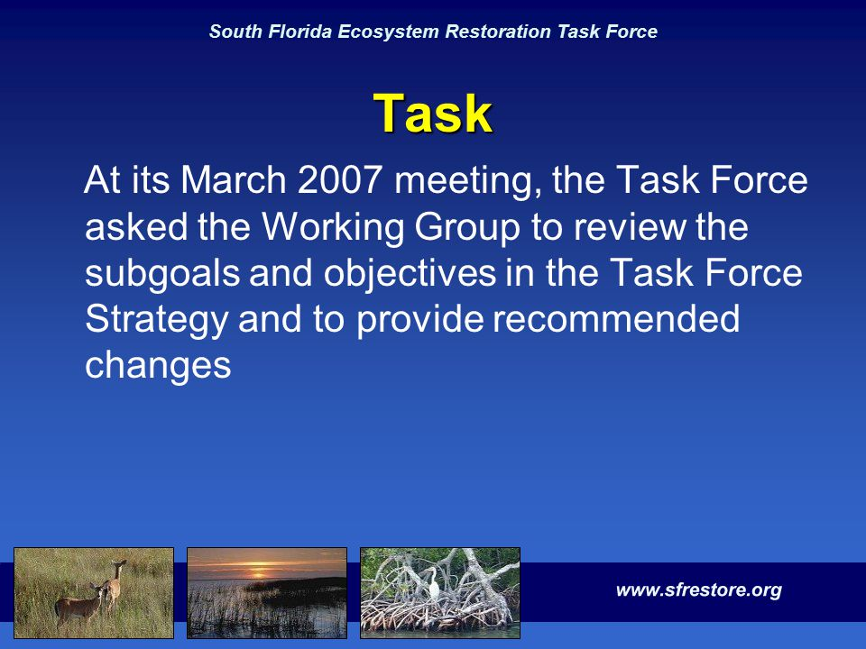 South Florida Ecosystem Restoration Task Force Task At its March 2007 meeting, the Task Force asked the Working Group to review the subgoals and objec