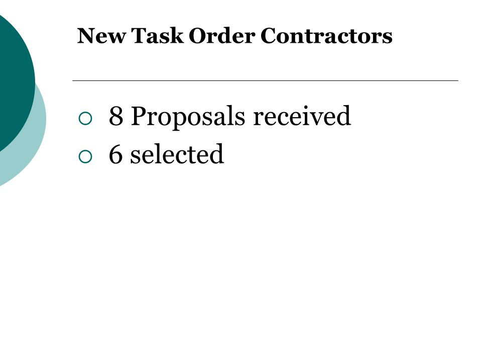New Task Order Contractors  8 Proposals received  6 selected