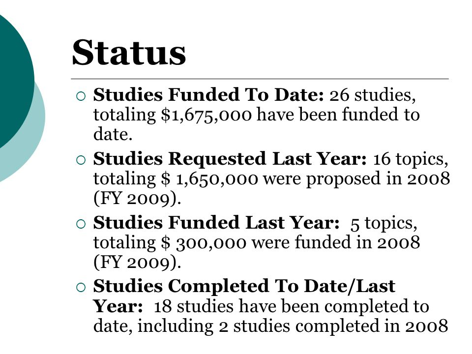 Status  Studies Funded To Date: 26 studies, totaling $1,675,000 have been funded to date.