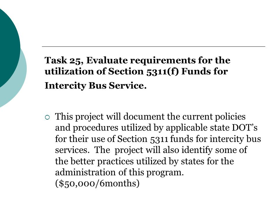 Task 25, Evaluate requirements for the utilization of Section 5311(f) Funds for Intercity Bus Service.
