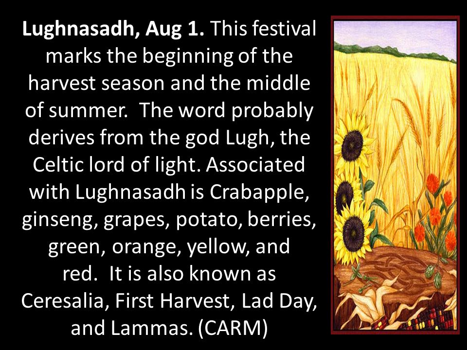 Lughnasadh, Aug 1. This festival marks the beginning of the harvest season and the middle of summer. The word probably derives from the god Lugh, the