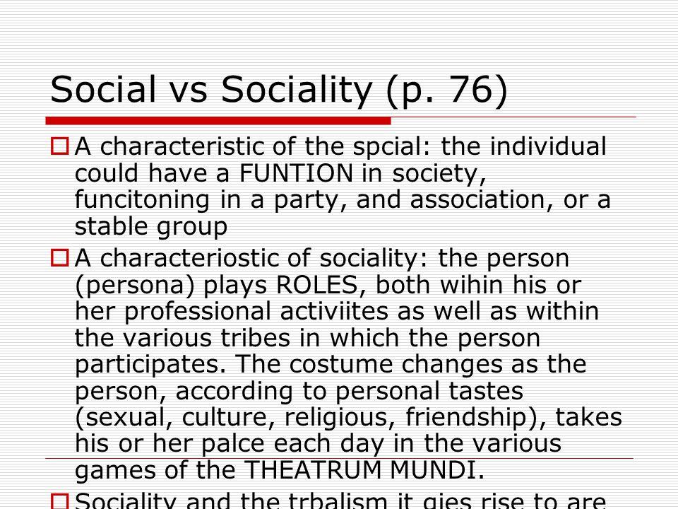 Social vs Sociality (p.