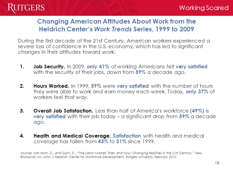 Working Scared 18 Changing American Attitudes About Work from the Heldrich Center's Work Trends Series, 1999 to 2009 1.