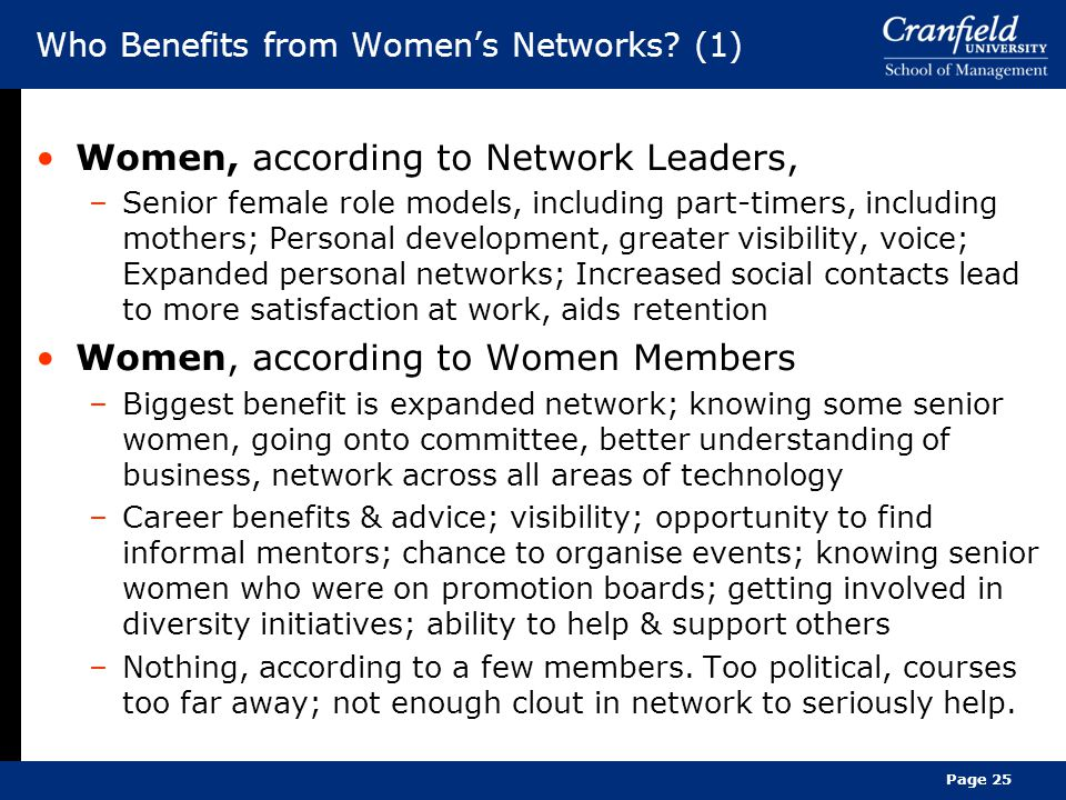 Who Benefits from Women's Networks.
