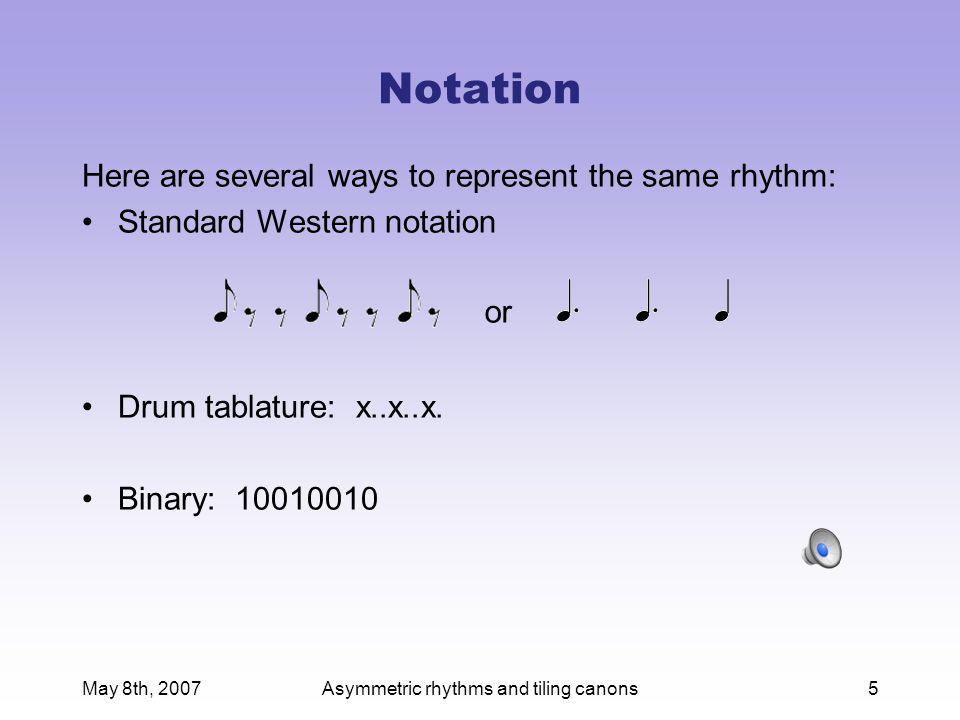 May 8th, 2007Asymmetric rhythms and tiling canons26 A four-voice tiling canon Voice 1: x.x..... :x.x.....:  Voice 2: x.x.... :.x.x....:  Voice 3: x.x. :....x.x.:  Voice 4: x.x :.....x.x:  Entries: ee..ee.. :ee..ee..:  inner rhythm = x.x.....