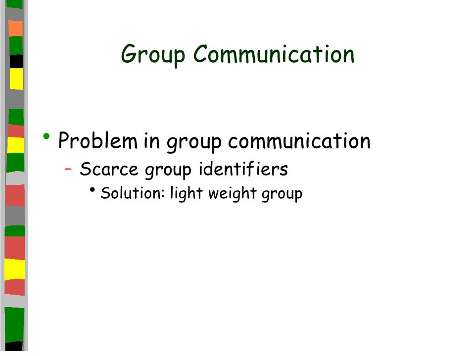 Group Communication Problem in group communication –Scarce group identifiers Solution: light weight group
