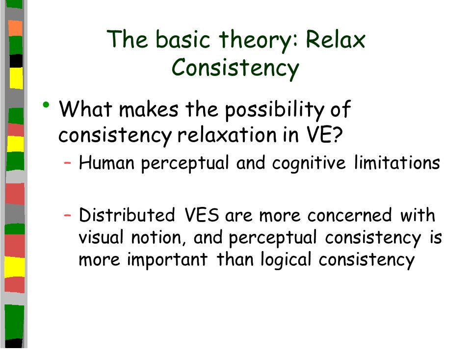 The basic theory: Relax Consistency What makes the possibility of consistency relaxation in VE.