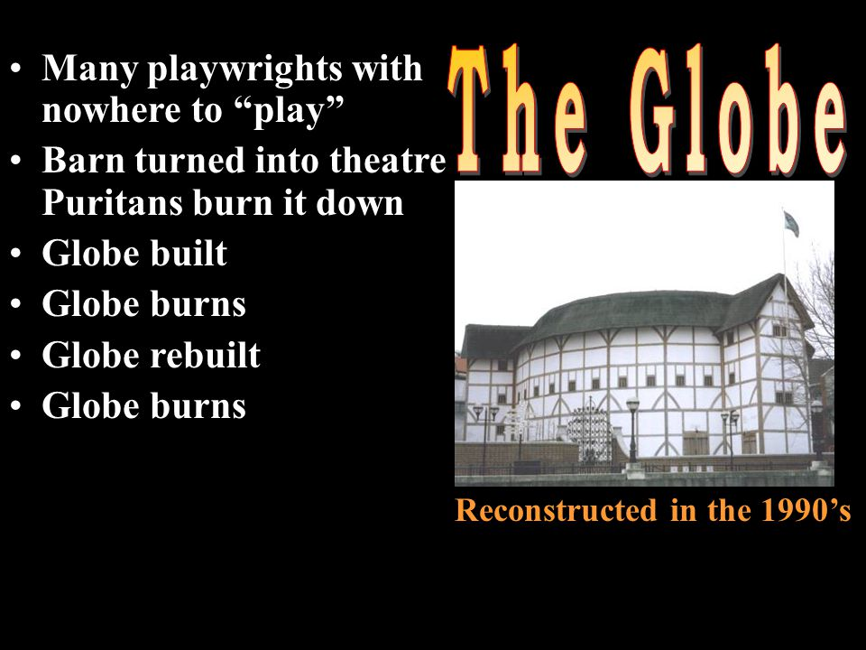 Many playwrights with nowhere to play Barn turned into theatre Puritans burn it down Globe built Globe burns Globe rebuilt Globe burns Reconstructed in the 1990's