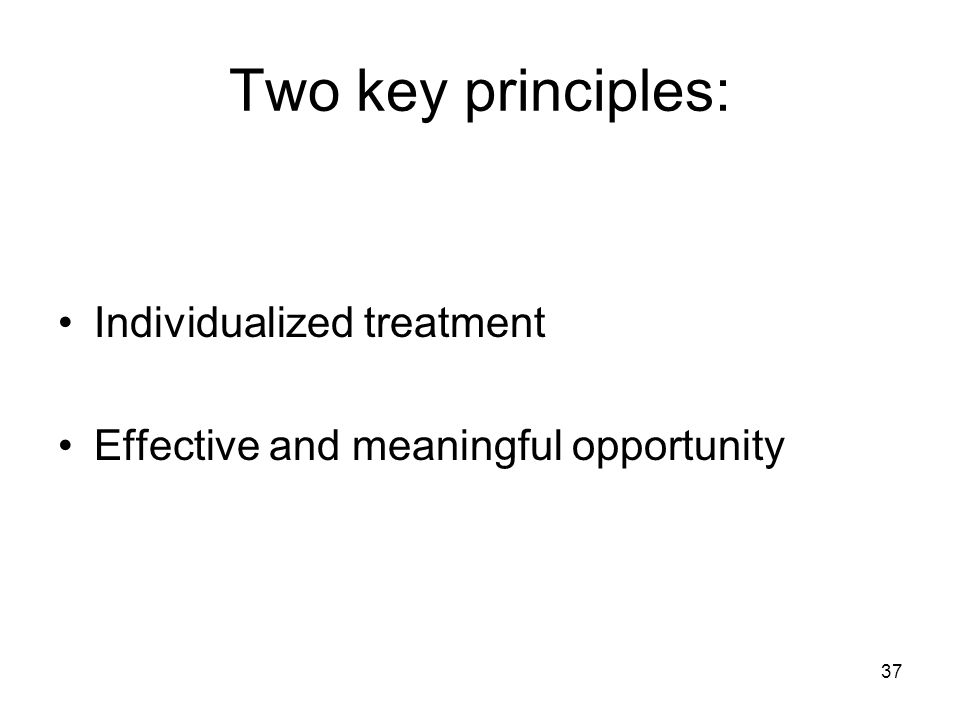 37 Two key principles: Individualized treatment Effective and meaningful opportunity