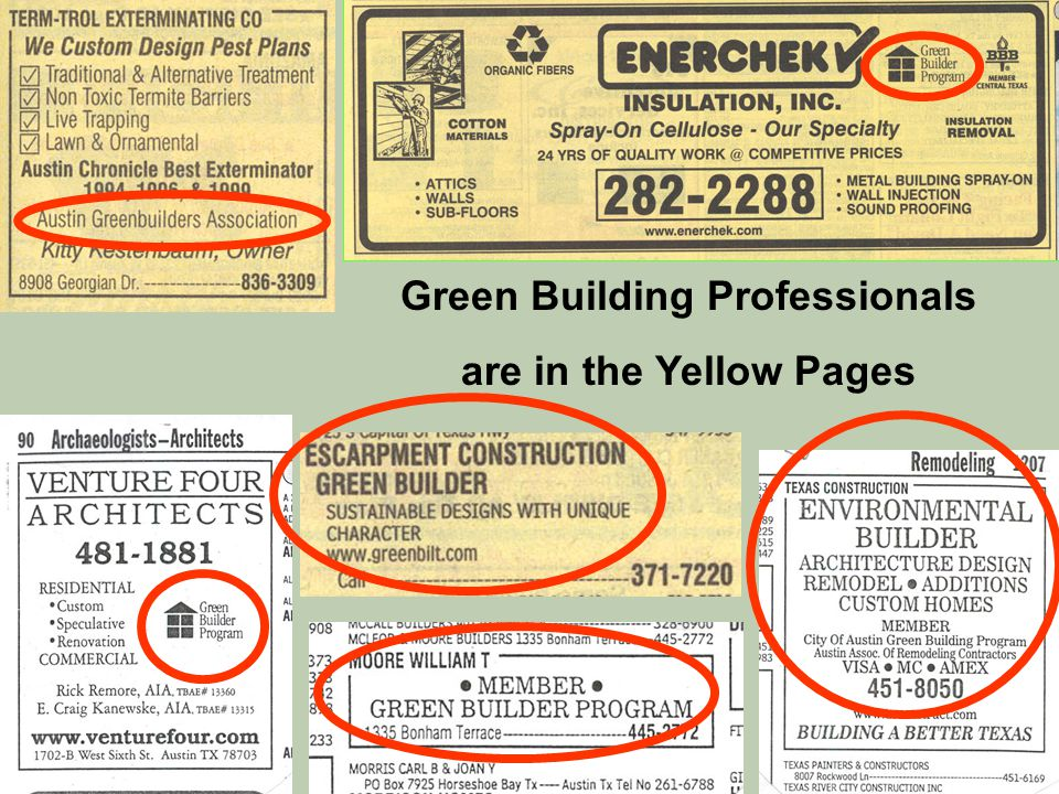 Green Building Professionals are in the Yellow Pages