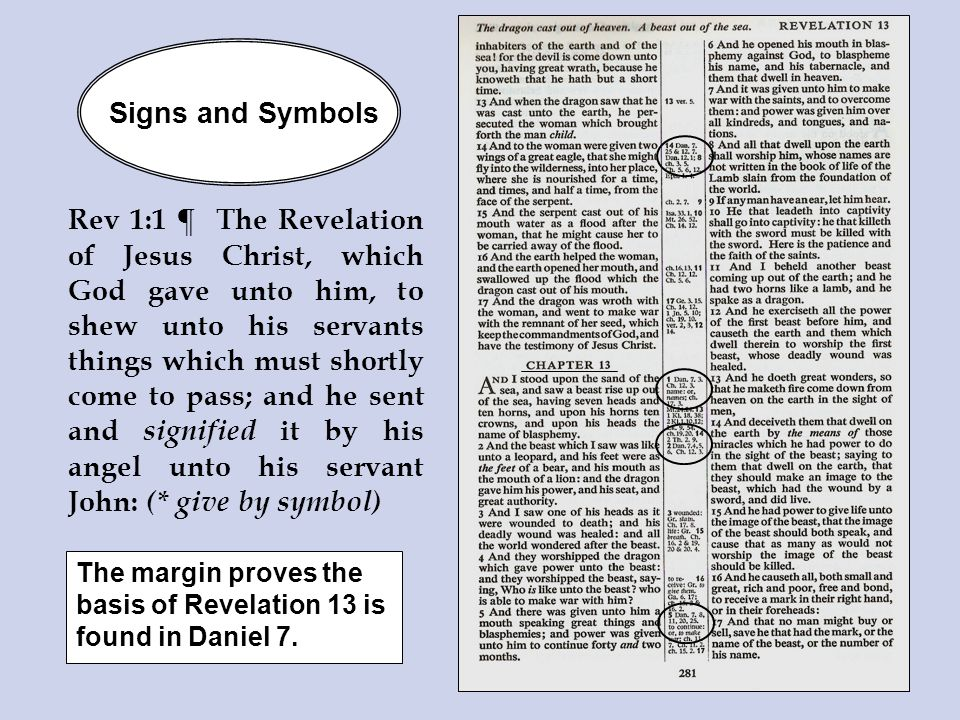 Signs and Symbols The margin proves the basis of Revelation 13 is found in Daniel 7.