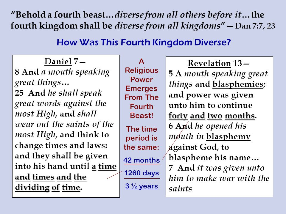 Behold a fourth beast… diverse from all others before it …the fourth kingdom shall be diverse from all kingdoms — Dan 7:7, 23 How Was This Fourth Kingdom Diverse.
