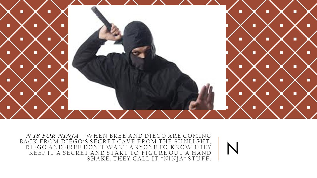 N IS FOR NINJA – WHEN BREE AND DIEGO ARE COMING BACK FROM DIEGO'S SECRET CAVE FROM THE SUNLIGHT, DIEGO AND BREE DON'T WANT ANYONE TO KNOW THEY KEEP IT A SECRET AND START TO FIGURE OUT A HAND SHAKE.