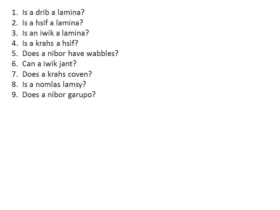 1.Is a drib a lamina. 2.Is a hsif a lamina. 3.Is an iwik a lamina.