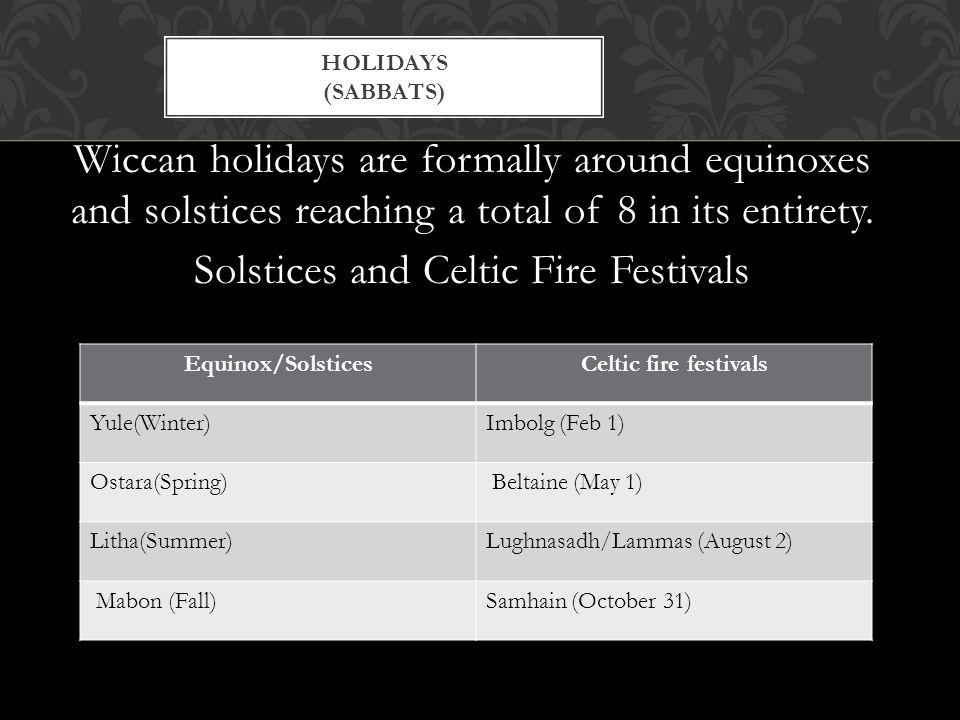 Wiccan holidays are formally around equinoxes and solstices reaching a total of 8 in its entirety.